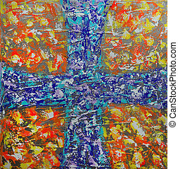 Abstract art painting with blue cross