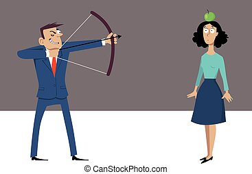 Misogynist at work - Misogynistic businessman with a bow and...