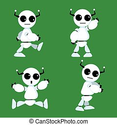 Cartoon robot - Cute robot character in different poses, EPS...