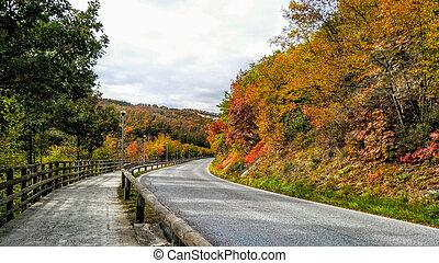 picturesque landscape. Road among autumn trees. Golden...
