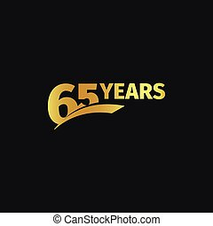 Isolated abstract golden 65th anniversary logo on black...