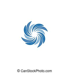Isolated abstract blue color spining spiral logo. Swirl logotype. Water icon. Vortex sign. Liquid symbol. Conditioning system emblem. Vector aqua illustration.