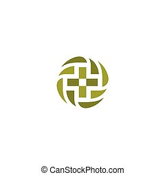 Green vector medical cross logo. Round shape logotype....