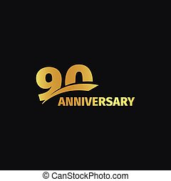 Isolated abstract golden 90th anniversary logo on black...