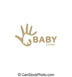 Isolated abstract beige baby foot in adult hand logo....