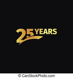 Isolated abstract golden 25th anniversary logo on black...
