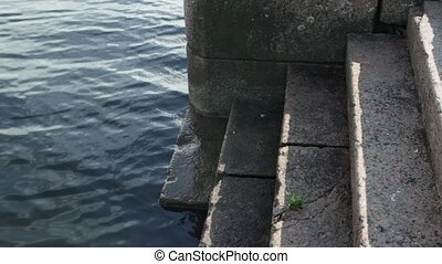 pier granite steps - pier old granite steps out of the water...