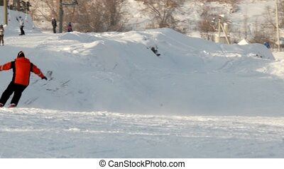 The descent of the skier down the slope. Uktuss Mountains,...