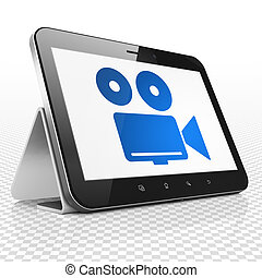 Travel concept: Tablet Computer with Camera on display -...