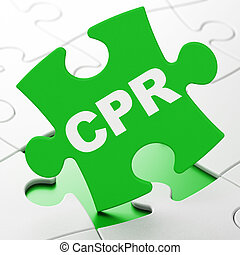 Health concept: CPR on puzzle background - Health concept:...