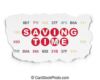 Timeline concept: Saving Time on Torn Paper background -...