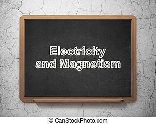 elettricità, scienza, magnetismo, lavagna, fondo,  concept: