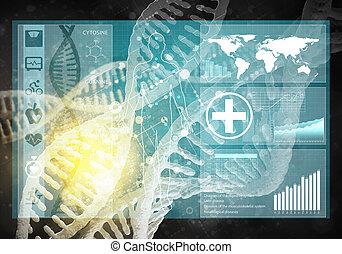 Medicine user interface, 3D rendering - medicine background...