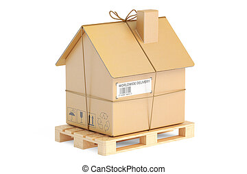 Household moving services concept. Pallet with cardboard...