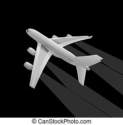 White airplane on black. - Model of a white airplane on a...