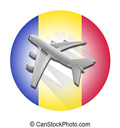 Plane and Andorra flag. - Plane on the background flag of...