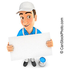 3d painter holding a billboard, illustration with isolated...