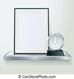 Trophy And Frame Realistic Composition Image - Faceted round...