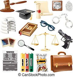 Law Justice Objects And Symbols Collection - Law and justice...