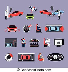 Car Safety Systems Icons Set - Car safety systems icons set...