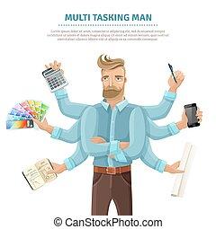Multitasking Man Flat Poster - Multitasking flat informative...