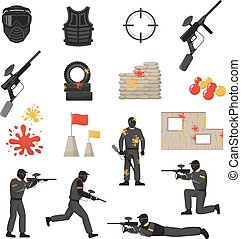 Paintball Icons Set - Flat icons set of paintball field...