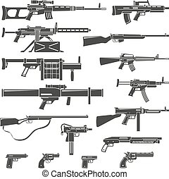 Weapons And Guns Monochrome Set - Flat design weapons guns...
