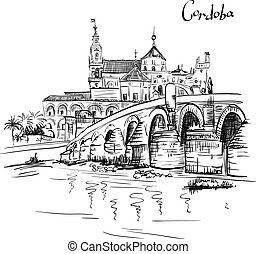 Vector Mezquita and Roman bridge in Cordoba, Spain - Vector...