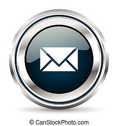 Vector icon. Chrome border round web button. Silver metallic...