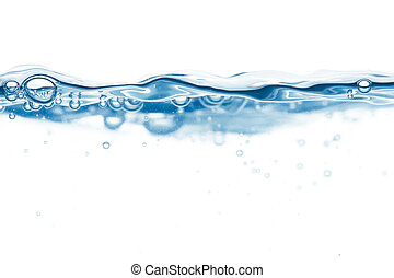 Steady water surface with bubbles - Blue steady water...