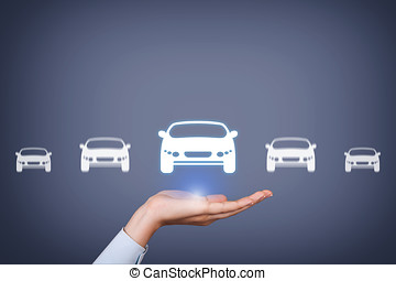 Car Button Over Human Hand on Visual Screen