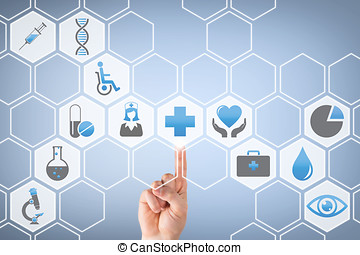 Human Hand Touching Medical Button on Visual Screen