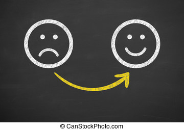 Unhappy and happy smileys on chalkboard background