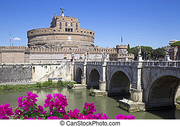 Saint Angel Castle and bridge over the Tiber river in Rome,...