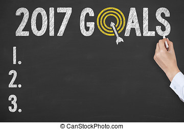 New Year 2017 Goals Concepts on Blackboard Background