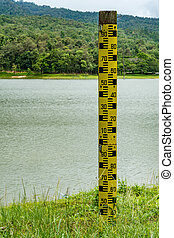 Water level pole at the lake