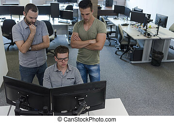 startup business people group working as team to find...