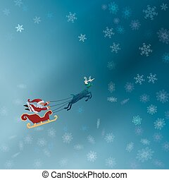 Santa with sleigh flying with deer in the winter night with snowflake pattern