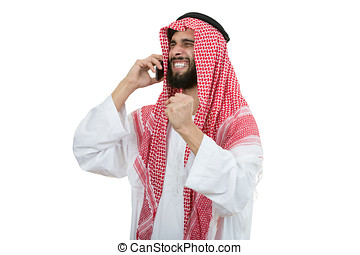 An arab person with a thumbs up isolated on white background