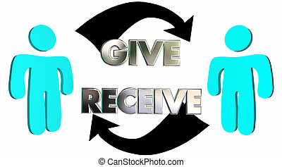Give Receive Donate Get Take Arrows People 3d Illustration