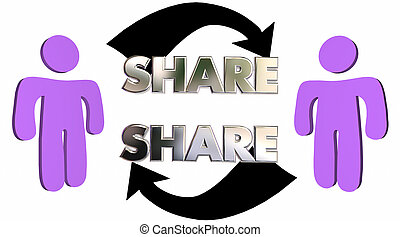 Share Word Arrows People Communication Giving 3d...