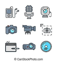 multi media icon set color