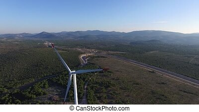 Aerial view of wind power generators in Croatia