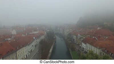 Aerial view of Ljubljana - Aerial view of morning misty...