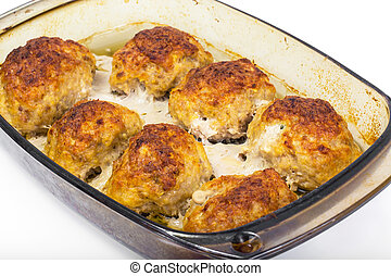 Homemade meat patties, baked in the oven