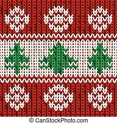 New year knitted pattern with xmas tree, vector illustration