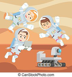 group of astronaut controlling rover