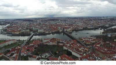 Aerial view of Prague, Czech Republic. - Aerial view of...