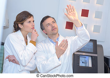 opticians working in the laboratory