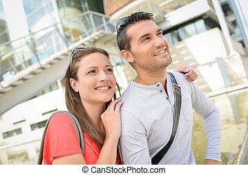 Couple enjoying a city break
